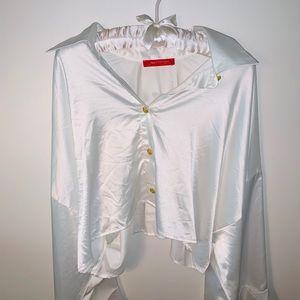Silk Wide Sleeve Crop Top